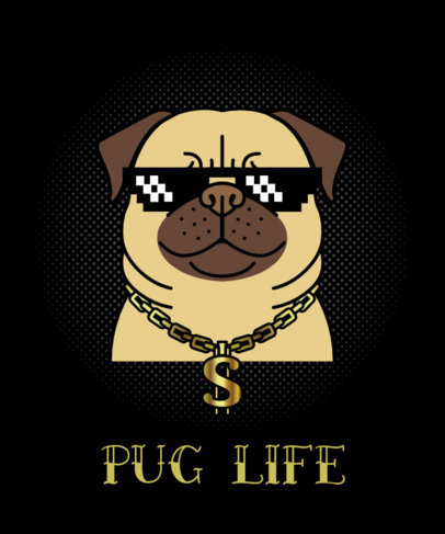 Dog T-Shirt Design Maker with Thug Pug 140c