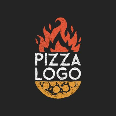 Pizza Restaurant Logo Maker with Fire Clipart 1024a
