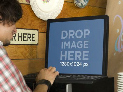 Mockup Template of Waiter Entering Orders to PC Desktop