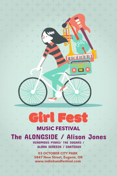 Music Festival Poster Maker for Female Artists Music 60b