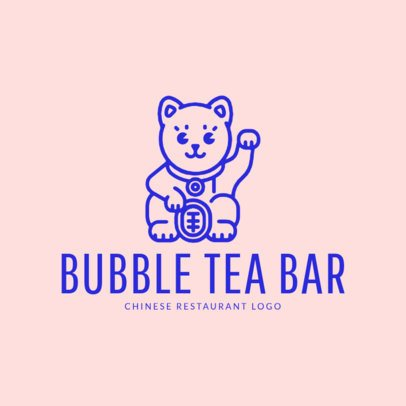 Bubble Tea Logo Maker with Lucky Cat Drawing 1214f