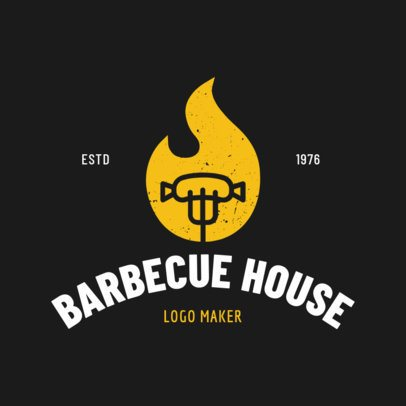 Online Logo Maker for a BBQ Restaurant with Flame Icon 1171a