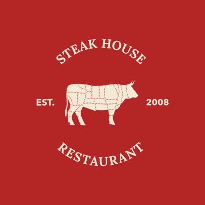 Online Logo Maker for a Steak House with Cow Graphic 1185d