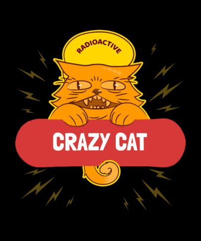 Skater T-Shirt Design Generator with a Crazy Cat 4b