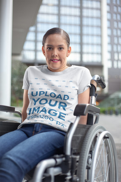 T-Shirt Mockup of a Girl Using a Wheelchair a21358