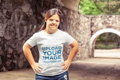 T-Shirt Mockup Featuring a Girl Standing on a Dry Water Channel a21379