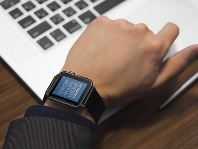 Businessman Working With Black Apple Watch Stock Photo