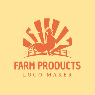 Farm Logo Maker for Farm Products with Rooster Icon 1126a