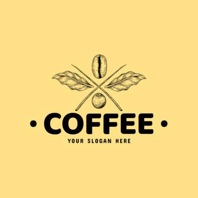 Coffee Brand Logo Maker with Coffee Beans Line Art 973b