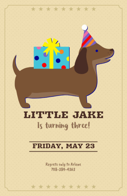Online Flyer Maker for Kids Birthday with Dachshund Clipart 223e