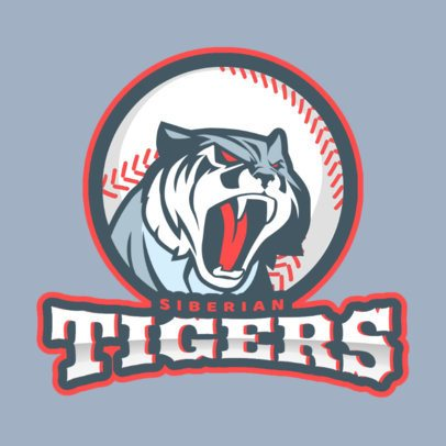 Logo Maker for a Baseball Team with Tiger Clipart 172e