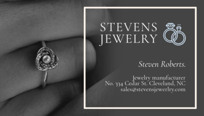 Jewelry Store Business Card Template featuring an engagement ring 219b