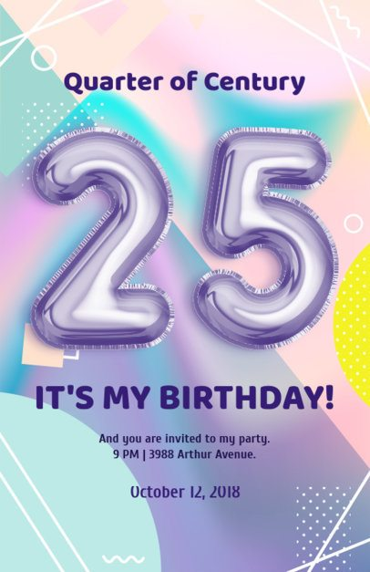 Flyer Template with Balloon Numbers and Pastel Colors 225b