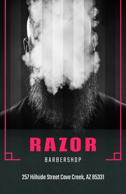 Barber Shop Flyer Template with Black and White Image 212d