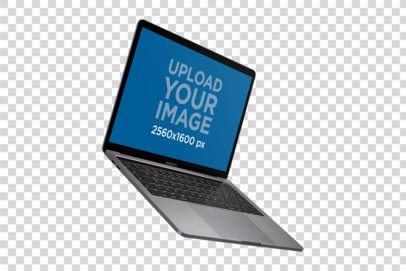 MacBook Mockup Floating Against a Transparent Backdrop a21452