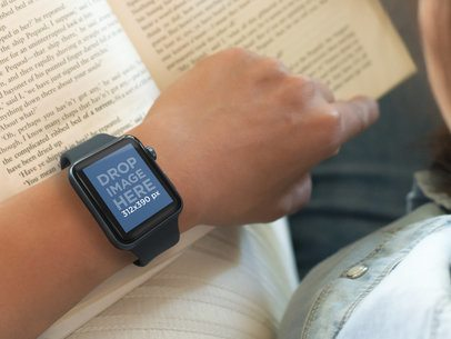 Woman Wearing an Apple Watch and Reading a Book Mockup Template