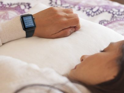 Apple Watch Stock Photo of Young Woman Taking a Nap