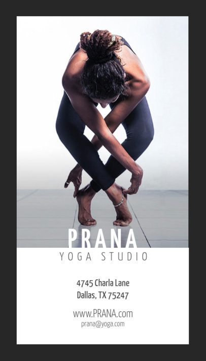 Vertical Business Card Template for Yoga Studios 146c
