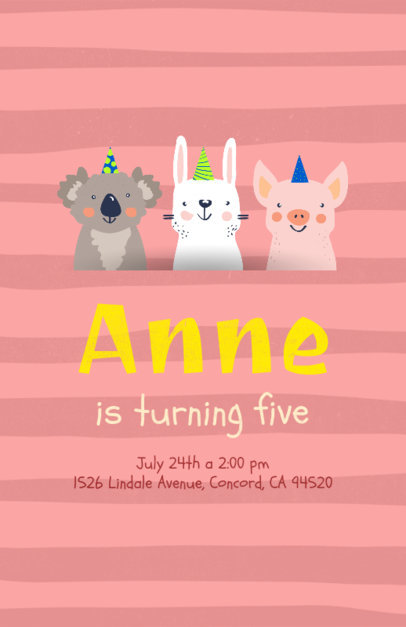 Flyer Maker for a Birthday Party with Koala, Rabbit, and Pig Drawings 210b