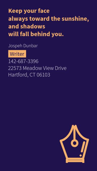 Writer Business Card Maker with Minimal Design 237d