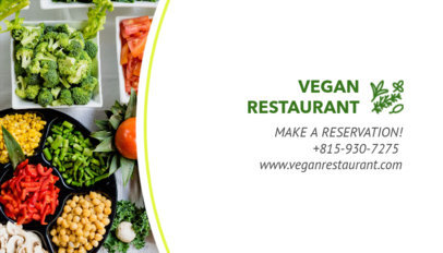 Vegan Restaurant Business Card Maker 107c