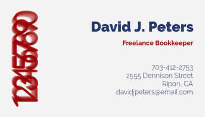 Freelance Bookkeeper Customizable Business Card Template 252c