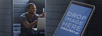 Young Man Using His Smartphone at his Workstation Screenshot Mockup