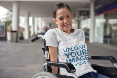 Round Neck Tee Mockup Featuring a Girl on a Wheelchair a21362