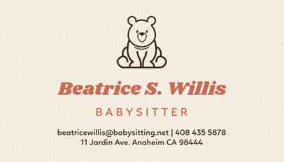 Babysitter Business Card Template with a Bear Icon 256b