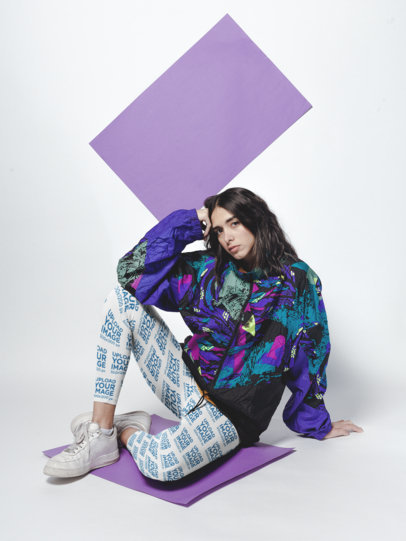 Leggings Mockup of a Girl Sitting on a Purple Cardboard in a White Room a19137