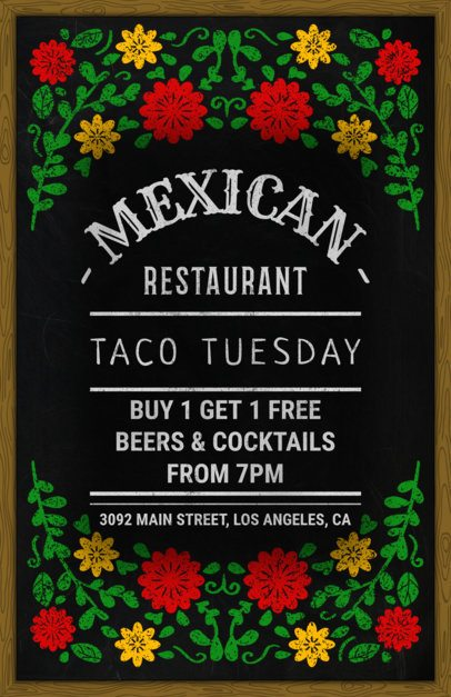 Flyer Maker for Mexican Restaurants with Blackboard Design 371