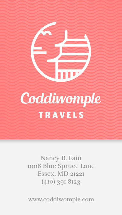 Business Card Maker for Travel Agents - Pink Background 338b