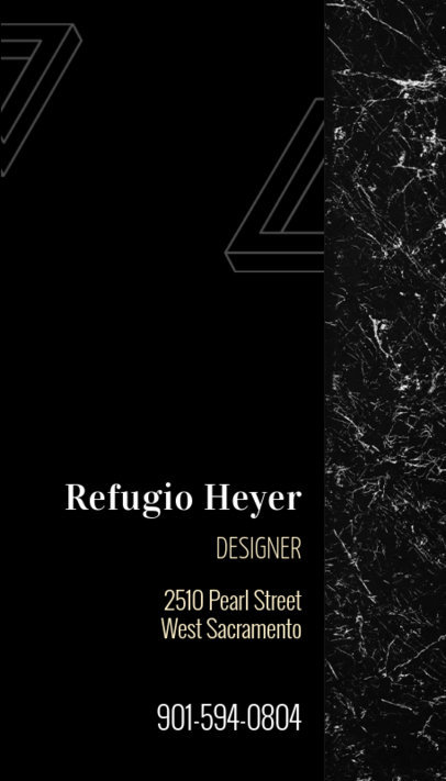 Vertical Luxury Business Card Template for Interior Designers 312e