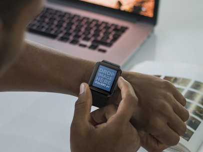 Young Man Using His Apple Watch While Studying Mockup Template