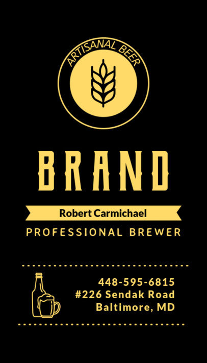 Vertical Business Card Template for Craft Beer and Brewers 261a