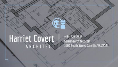 Architect Business Card Maker with Blueprint Background 303a