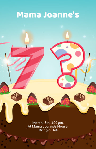 Birthday Party Flyer Template with Customizable Cake Illustration 233c