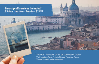 Online Flyer Maker for a Travel Agency Blue Theme 337d