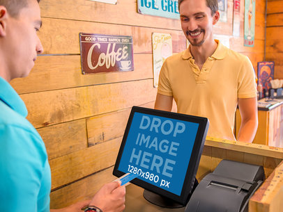 Desktop Stock Photo Male Customer and Cashier Completing Sale Transaction