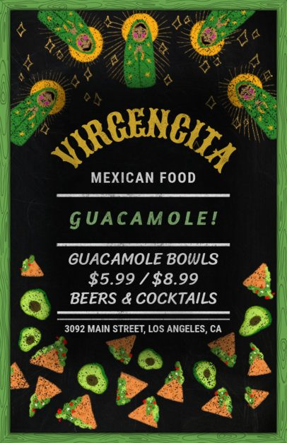 Flyer Maker for a Mexican Restaurant with Green Graphics 371d