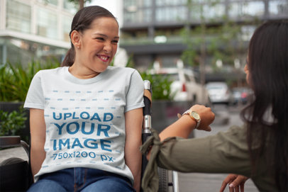 T-Shirt Mockup of a Girl on a Wheelchair Asking for the Time a21365