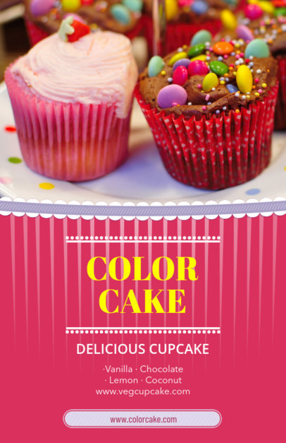 Flyer Template with Pink Theme for Cupcake Shops 379c
