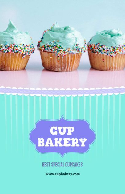 Flyer Template with Blue Theme for Cupcake Shops 379e