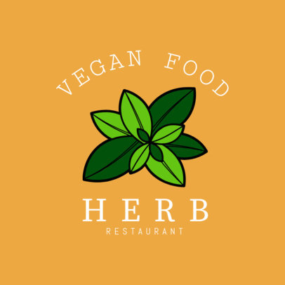 Restaurant Logo Maker for Vegan Restaurants with Plant Icon 1258a