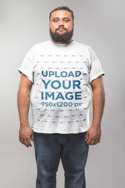 Front Shot of a Plus Size T-Shirt Mockup Featuring a Man in a White Room 20799