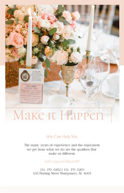 Flyer Maker for Wedding Planners with Pastel Pink Colors 365c