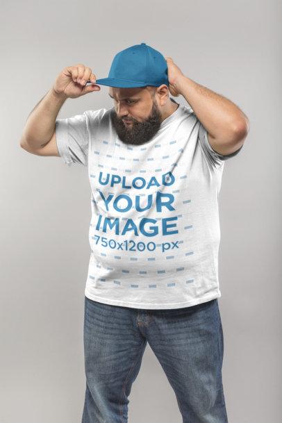 Plus Size T-Shirt Mockup of a Man Adjusting his Hat 20810