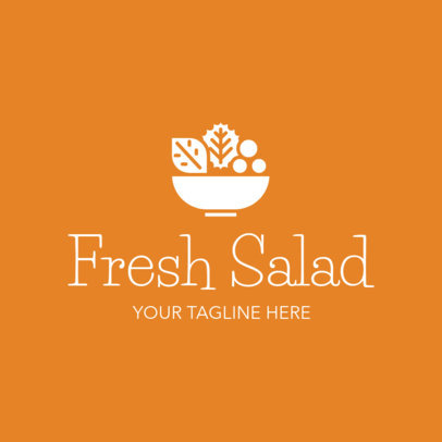 Logo Maker for Salad Restaurants with Orange Background 1267c