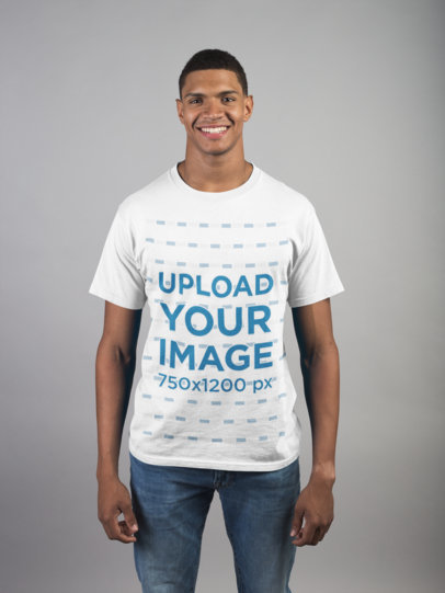 Mockup Featuring a Happy Man Wearing a Round Neck Tee 21082