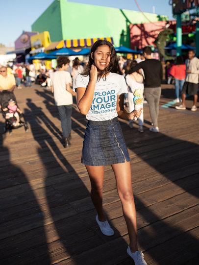 Tshirt Mockup of a Happy Girl Outside an Amusement Park 18322